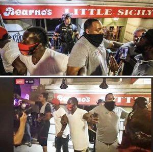 Black men protect white cop