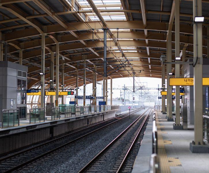 A train platform at a station in Busan, South Korea.