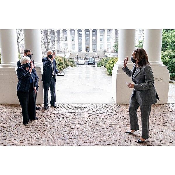 Janet Yellen waves goodbye to Kamala Harris
