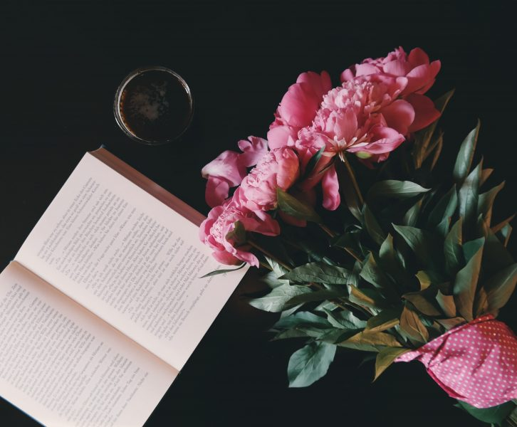Open book and flowers